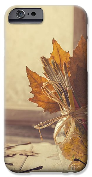 Painter Pyrography iPhone Cases - Autumn Art. iPhone Case by Jelena Jovanovic