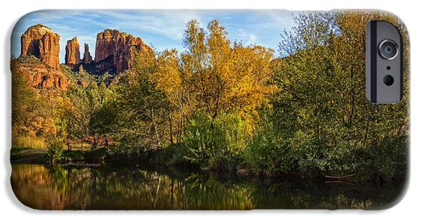 Oak Creek iPhone Cases - Autumn at Cathedral Rock iPhone Case by Medicine Tree Studios