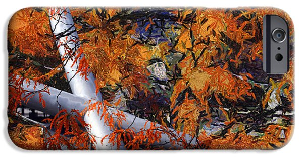 Willis Tower iPhone Cases - Autumn At Chicago Pritzker Pavillion Mixed Media Abstract iPhone Case by Thomas Woolworth