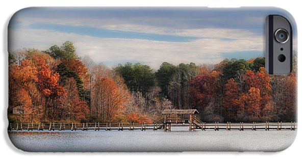 Autumn Scenes iPhone Cases - Autumn at Chickasaw - Lake Scene iPhone Case by Jai Johnson