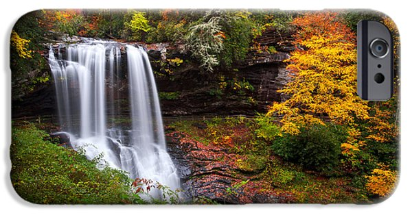 Autumn Trees iPhone Cases - Autumn at Dry Falls - Highlands NC Waterfalls iPhone Case by Dave Allen