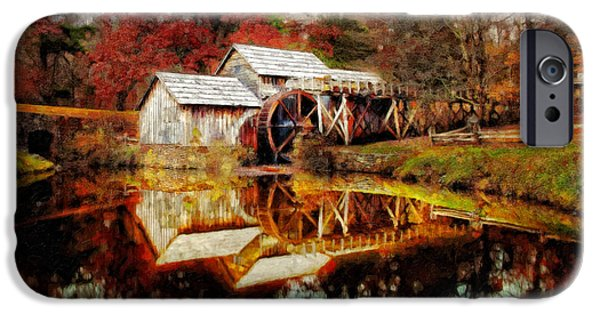Grist Mill iPhone Cases - Autumn at Mabry Mill iPhone Case by Lianne Schneider