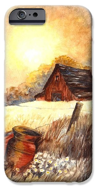 Old Barn Drawings iPhone Cases - Autumn on the Farm iPhone Case by Carol Wisniewski