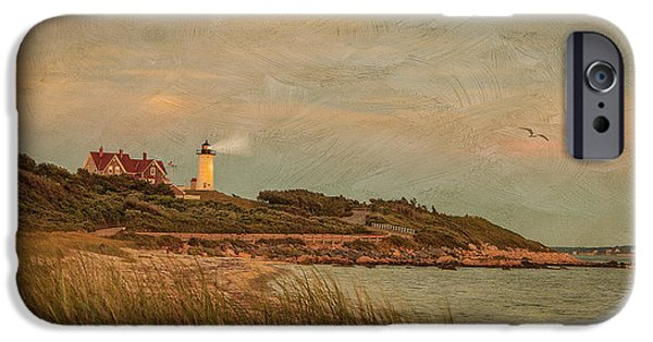 Lighthouse Mixed Media iPhone Cases - Autumn At Nobska Light House iPhone Case by Michael Petrizzo