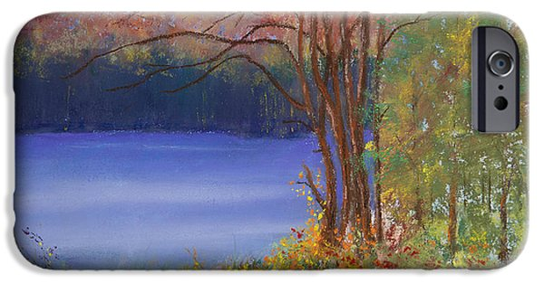 Autumn Landscape Pastels iPhone Cases - An Autumn Day at Cary Lake iPhone Case by David Patterson