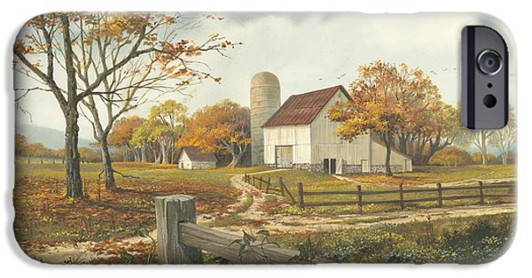 Michael Paintings iPhone Cases - Autumn Barn iPhone Case by Michael Humphries