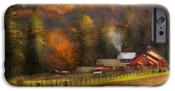 Personalized iPhone Cases - Autumn - Barn - The end of a season iPhone Case by Mike Savad