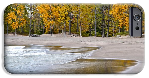 Willow Lake iPhone Cases - Autumn Beach iPhone Case by Frozen in Time Fine Art Photography