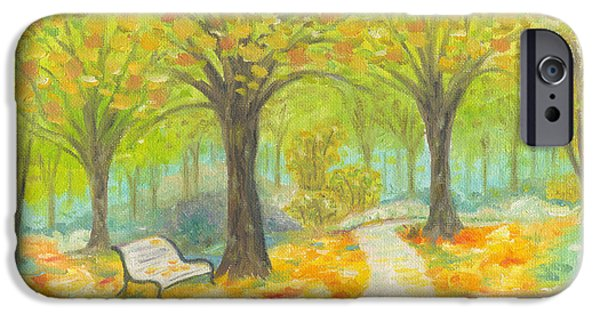 Park Scene Paintings iPhone Cases - Autumn Bench iPhone Case by Annamarie Lombardo