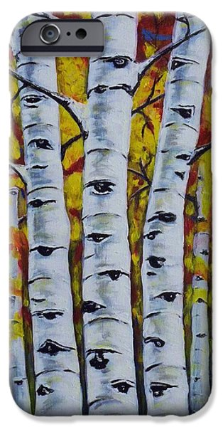Fall iPhone Cases - Autumn Birch Trees iPhone Case by Teresa  Pascos