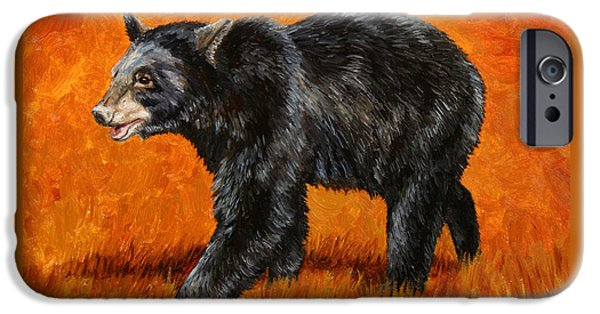 Black Bear iPhone Cases - Autumn Black Bear iPhone Case by Crista Forest