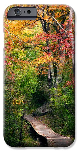 New England Autumn Scenes iPhone Cases - Autumn Boardwalk iPhone Case by Bill  Wakeley
