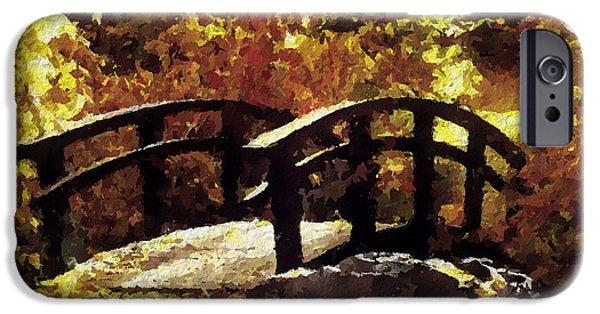 Covered Bridge iPhone Cases - Autumn Bridge iPhone Case by Barbara D Richards