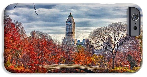 City Scape Digital Art iPhone Cases - Autumn Bridge iPhone Case by Nishanth Gopinathan