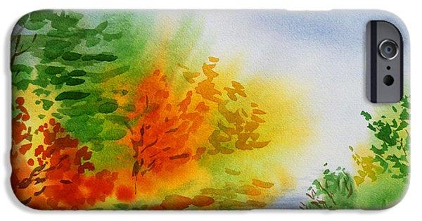 Creek iPhone Cases - Autumn Burst Of Fall Impressionism iPhone Case by Irina Sztukowski
