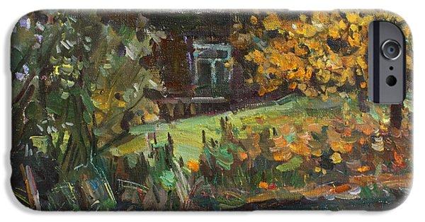 Village iPhone Cases - Autumn by the pond iPhone Case by Juliya Zhukova