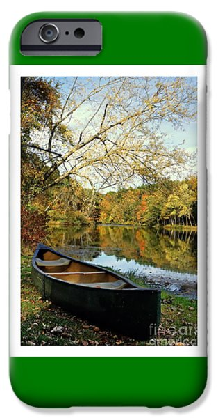 Canoe iPhone Cases - Autumn  Canoe iPhone Case by Marcel  J Goetz  Sr