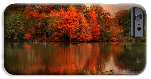 Canoe iPhone Cases - Autumn Canoe iPhone Case by Robin-lee Vieira