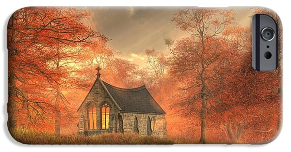 Christian Art iPhone Cases - Autumn Chapel iPhone Case by Christian Art