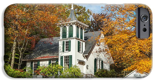 Autumn In The Country iPhone Cases - Autumn Church iPhone Case by Bill  Wakeley