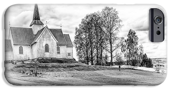 Norway iPhone Cases - Autumn Church BW iPhone Case by Erik Brede