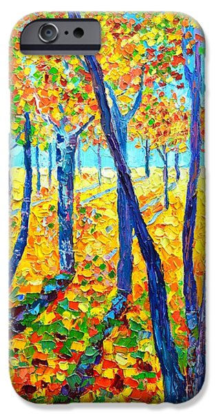 Abstract Expressionism iPhone Cases - Autumn Colors iPhone Case by Ana Maria Edulescu
