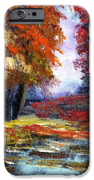 Nashville Tennessee Paintings iPhone Cases - Autumn Colors  iPhone Case by Anna Sandhu Ray