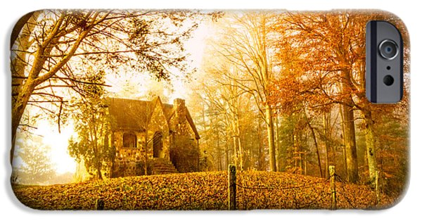 Haunted House iPhone Cases - Autumn Cottage iPhone Case by Debra and Dave Vanderlaan