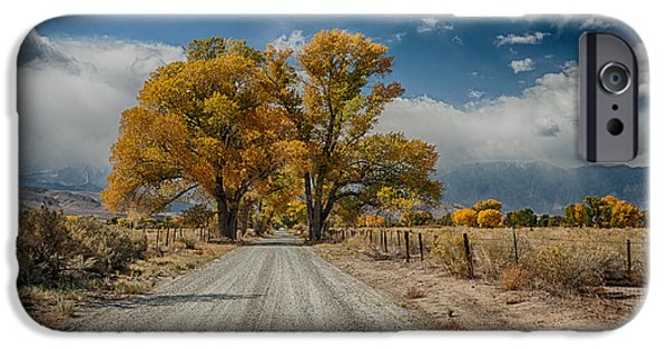Fall iPhone Cases - Autumn Country Road iPhone Case by Cat Connor