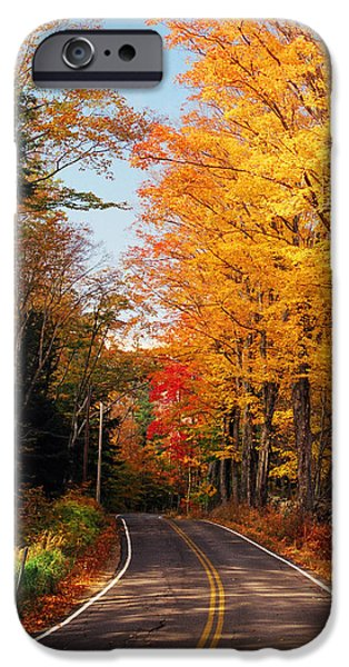 New Hampshire Fall Scenes iPhone Cases - Autumn Country Road iPhone Case by Joann Vitali