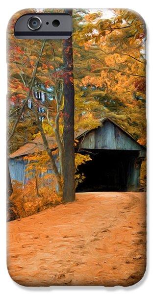 Autumn Scenes iPhone Cases - Autumn Covered Bridge iPhone Case by Joann Vitali