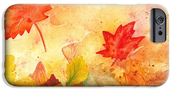Maple Season Paintings iPhone Cases - Autumn Dance iPhone Case by Irina Sztukowski
