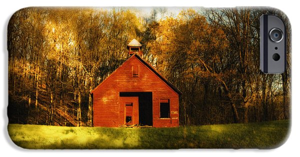 Red School House iPhone Cases - Autumn Day on School House Hill iPhone Case by Denise Beverly