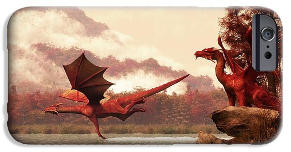 Dungeons iPhone Cases - Autumn Dragons iPhone Case by Daniel Eskridge