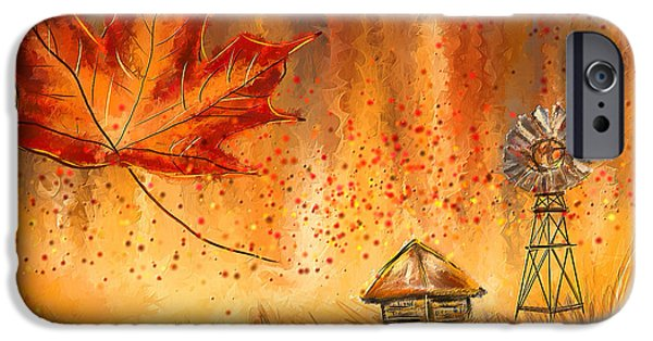 Autumn Art iPhone Cases - Autumn Dreams- Autumn Impressionism Paintings iPhone Case by Lourry Legarde