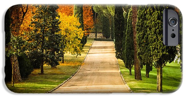 Cemetary iPhone Cases - Autumn Drive iPhone Case by Prints of Italy