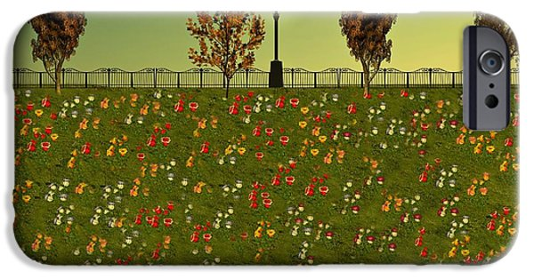 Business Digital Art iPhone Cases - Autumn Evening Flowers iPhone Case by David Dehner