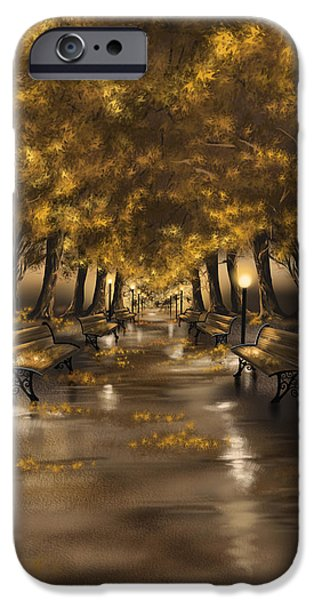 Park Scene iPhone Cases - Autumn evening iPhone Case by Veronica Minozzi