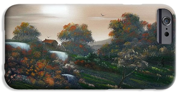Creek iPhone Cases - Autumn Falls Over iPhone Case by Cynthia Adams