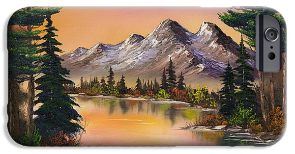 Wet On Wet Paintings iPhone Cases - Mountain Fantasy iPhone Case by C Steele