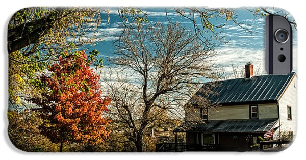 Autumn In The Country iPhone Cases - Autumn Farm House iPhone Case by Lara Ellis