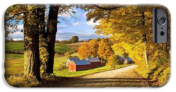 Autumn iPhone Cases - Autumn Farm in Vermont iPhone Case by Brian Jannsen