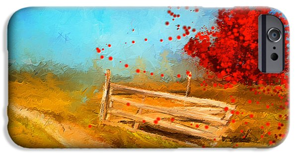 Pastoral iPhone Cases - Autumn Farm- Autumn Impressionism Oil Palette Knife Painting iPhone Case by Lourry Legarde