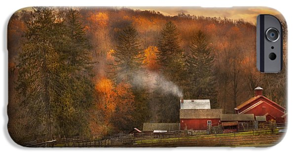 Old Barns iPhone Cases - Autumn - Farm - Morristown NJ - Charming farming iPhone Case by Mike Savad