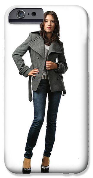 Gray Hair iPhone Cases - Autumn fashion model iPhone Case by Konstantin Sutyagin