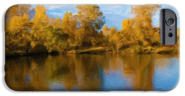 River Digital Art iPhone Cases - Autumn Fever iPhone Case by Ayse Deniz