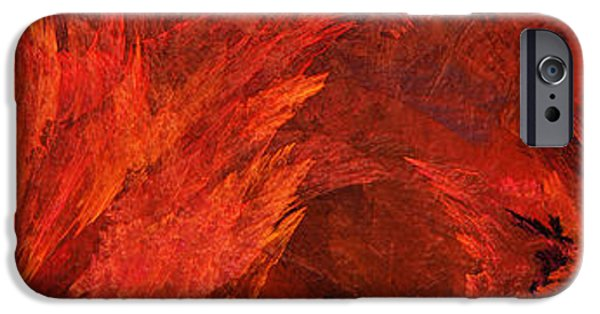 Abstract Digital Mixed Media iPhone Cases - Autumn Fire Abstract Pano 2 iPhone Case by Andee Design