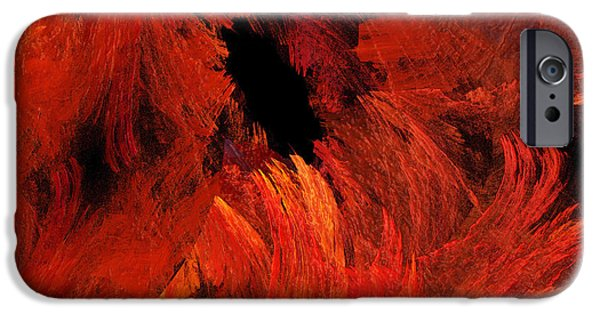 Concept Mixed Media iPhone Cases - Autumn Fire Abstract Square iPhone Case by Andee Design