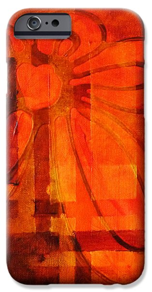 Concept Paintings iPhone Cases - Autumn Fire iPhone Case by Nancy Merkle