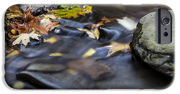 Autumn Leaf On Water iPhone Cases - Autumn Flow iPhone Case by Andrew Pacheco